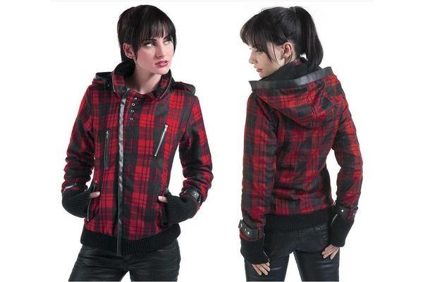 cf87a29da89 Punková bunda dámská červená kostkovaná